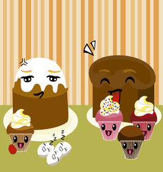 Kawaii desserts vector