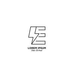 Letter e flash logo design vector