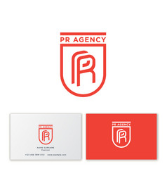logo pr identity monogram shield heraldic vector image