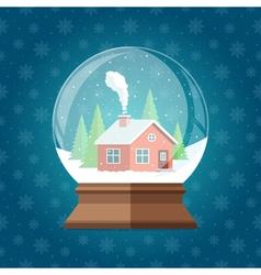 Magic Christmas snow globe Glass snowglobe gift vector