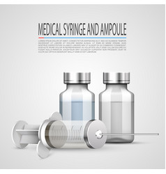 medical syringe and ampoule objects on white vector image