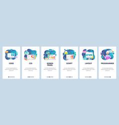mobile app onboarding screens female developer vector image