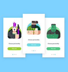 mobile app screens with avatar characters vector image