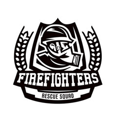 monochrome logo emblem fireman in a gas mask vector image
