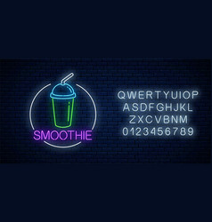 neon glowing sign smoothie in circle frame vector image