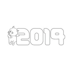 New year sign with a cute pig next to it outline vector