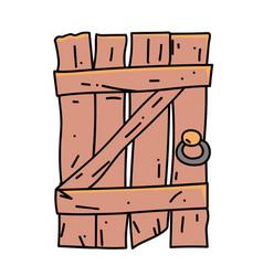 old door cartoon hand drawn image vector image