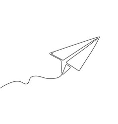 One line paper plane abstract flying airplane vector