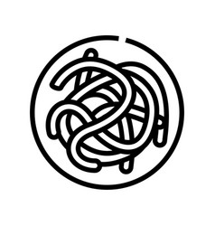 Parasitic worms ascaris line icon vector