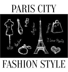 Paris city Fashion style symbols of the city vector