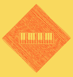 piano keyboard sign red scribble icon vector image