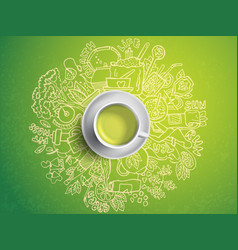 Realistic cup of green tea with circle doodles vector