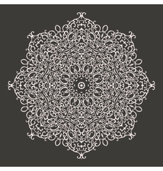 Round mandala kaleidoscopic lace ornament vector