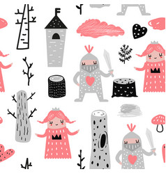 Seamless pattern with princess and knights vector