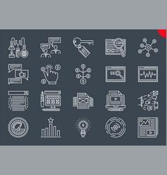 seo line icons set vector image