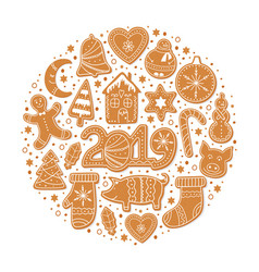 set christmas gingerbread cookies vector image