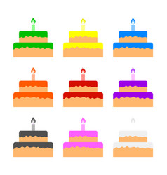 set colored cakes isolated on white background vector image