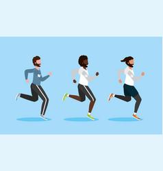 Set men running practice exercise vector