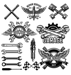 Set of car service station emblems and design vector