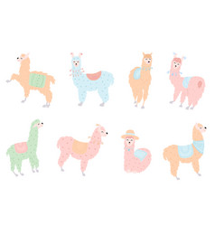 Set of llamas in pastel vector