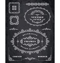 Set of Retro Vintage Frames and Borders Chalk vector image