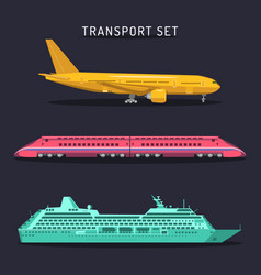 set of transportation icons in flat style vector image