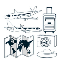 set of travel and world vector image