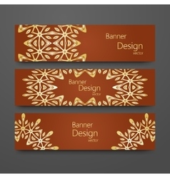 Set of vintage banners with golden background vector