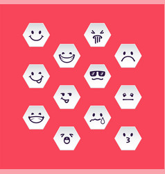 Set of white hex head with emotion signs vector