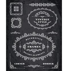 set retro vintage frames and borders chalk vector image