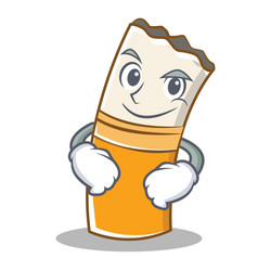 Smirking cigarette character cartoon style vector