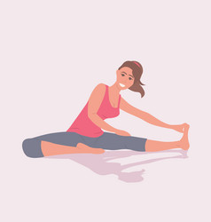 Sportswoman doing stretching fitness exercises vector