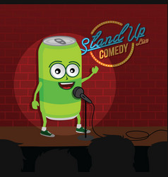 Stand up comedy soft drink open mic vector