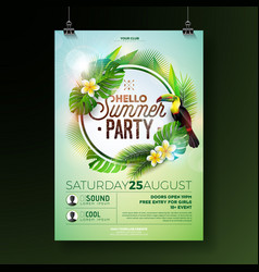 Summer beach party flyer design with flower vector