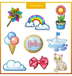 Summer set of cartoon candy icons vector image