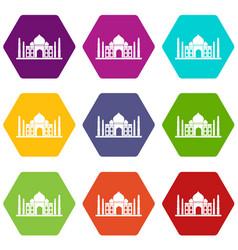 Taj mahal icon set color hexahedron vector