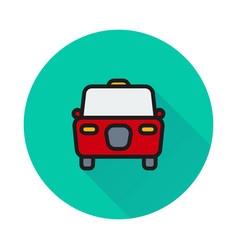 taxi icon on round background vector image