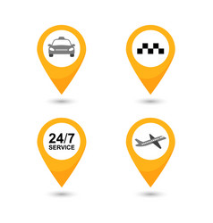 Taxi service icons set taxi map pointer vector