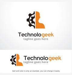 Technology geek logo template vector