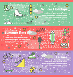 thin line style design leisure banner set vector image