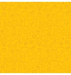 Thin summer line travel and resort yellow seamless vector