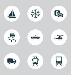 Transport icons set with slippery way pickup van vector