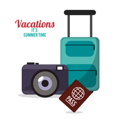 Vacations summer time - suitcase camera passport vector