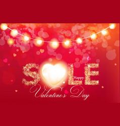 valentine day sale banner in glitter vector image