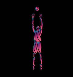 volleyball player neon silhouette on black vector image