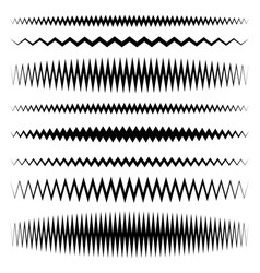 Wavy zigzag line set with different level of vector