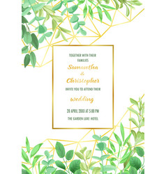 Wedding invitation with geometric frame and vector