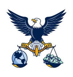 Bald Eagle Hold Scales Earth Money Retro vector image vector image