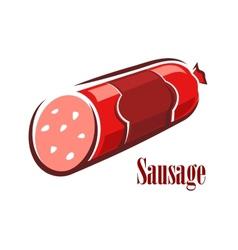 Cartoon red beef salami sausage vector image