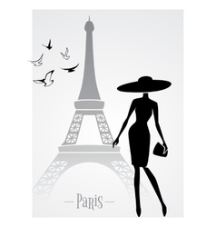 Fashionable lady in front of Eiffel Tower vector image vector image